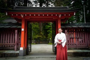 Hakone Shinto Shrine Miko (shrine Maiden) by Natures-Studio