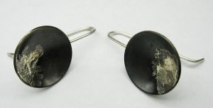 Oxidized Silver and melted 14KY Gold Dome Earrings by Utinni