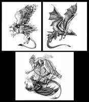 Sketches. Dragon and Gryphon. by Deygira-Blood
