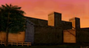 Hyrule Castle Town at Sunset by Ilionej