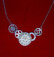 Steampunk Clockwork Gears Necklace by Alicat59