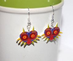 Legend of Zelda Majoras mask earrings by knil-maloon