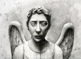 Weeping Angel Watercolor - Doctor Who Fan Art by Olechka01