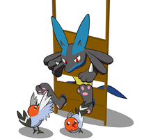 Lucario tickled by Alphaws