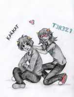 Karkat and Terezi by TehHuckleBerry