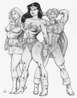 Wonder Woman and The Girls by yatz