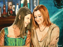 Willow and Tara Buffy painting by tdastick
