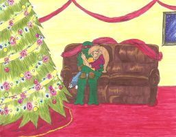 .: Cuddling by the Christmas Tree :.Secret Santa. by Ila-Mae