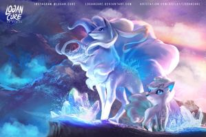 Alola Ninetales  and Vulpix by logancure