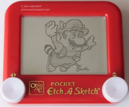 Mario Raccoon etch a sketch by pikajane