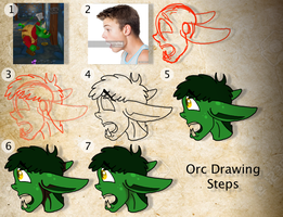 Orc Drawing Steps by FaithLeafCat