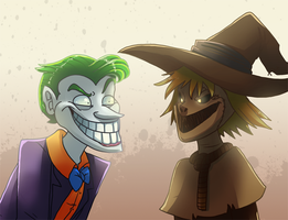 Joker And Scare Crow Smile Contest by pink-ninja