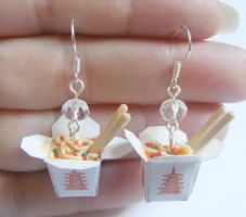 chinese take out with noodles earrings by NeatEats by rhonda4066