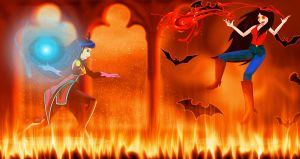 Princess Luna vs Marceline the Vampire Queen by blossomxdexter4eva
