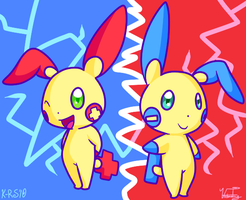 Plusle and Minun by Aruesso