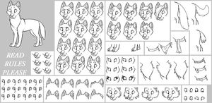 lineart pack 4 -wolf- *read rules* by Skelos-kath