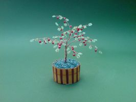 Bonsai Wire Tree Sculpture Beaded Apple by sinisaart