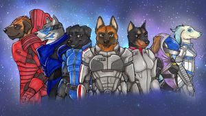 Commander Shepherd and the pack by Flytrap-Hell