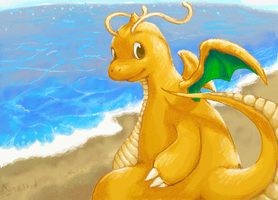 Sun Rays and Waves Dragonite by Dynastid