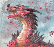 Art trade - Red dragon by KatrineH