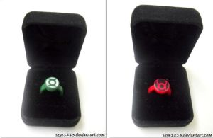 Green and Red Lantern Rings by skye1213