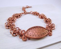 Etched copper and chainmaille bracelet with flower by Zsamo