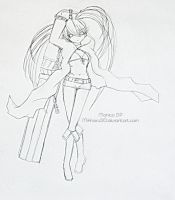 quick sketch of Black Rock Shooter by Mikhairu20