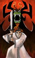 Samurai Jack vs Aku by GREAT-ODEN