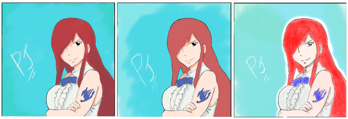 Erza Scarlet Three Colouring Styles - Fairy Tail by ShineSpriite