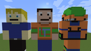 Minecraft - Neon, Liam and TMUG's Statue V1 by TheNeonInferno