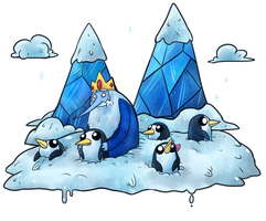 Ice King and his penguins by Srarlight