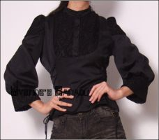 Black Silk Cotton Bell Blouse by yystudio