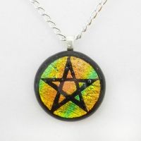 Peach and Yellow Fused Dichroic Glass Pentacle by HoneyCatJewelry