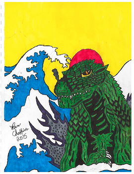 Godzilla 2000 with Japanese waves. (Scanner qual.) by Shin-Ben