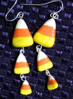candy corn earrings by carmendee