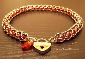 Red and Silver Captive Weave Necklace w Heart Lock by ulfchild