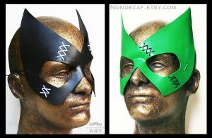 Stitchy masks - green and black by nondecaf