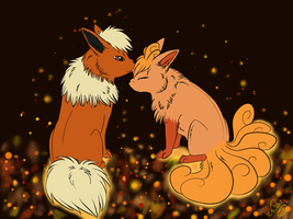 PCM - Flareon and Vulpix by GreeNissy