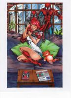 Deadpool, Mary Jane Watson and Spider-Man by SunsetRising-Art