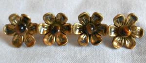 Vintage Gold-tone Tigers Eye Flower Brooch by sevvysgirl