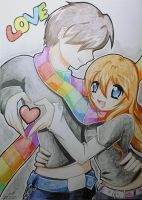 Toyo With her BF by lepler