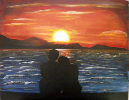 Sunset - Acrylic on canvas panel by derekcgs