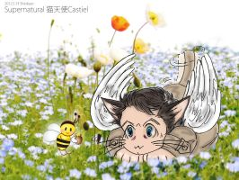 SPN fanfic : Cat-Cass watches the bees from S7.21 by noji1203