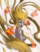 Golden hair lady with gold fis by He11Bringer