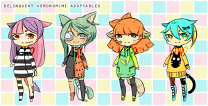 Deliquent Kemonomimi Adoptables set 1 [CLOSED] by kiimcakes