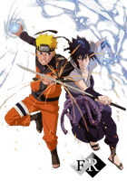 Naruto vs Saske render by Ferdiferrah