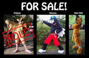 Fursuits for Sale: Pidgey, Klonoa, Red XIII by Sethaa