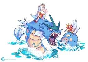 Justin's Water Pokemon - Gyarados and Magikarp by mmishee