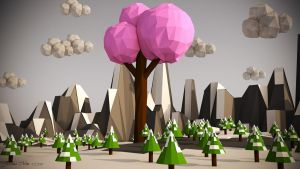 Low Poly Landscape - Pink Tree (Including VIDEO) by SKIGZdoesART