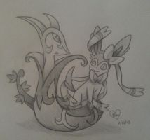 Commission: Serperior and Sylveon by Bluekiss131